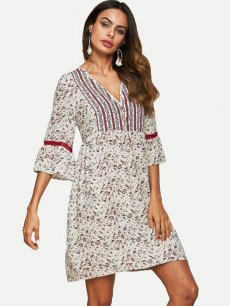 V Neck Loose Floral Print Chiffon Dress