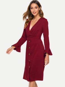 Solid V Neck Flounce Sleeve Midi Dress