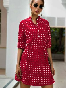 Polka Dots Print Mini Dress