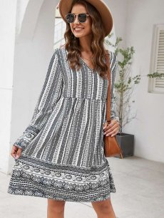 V Neck Printed Loose A-line Dress