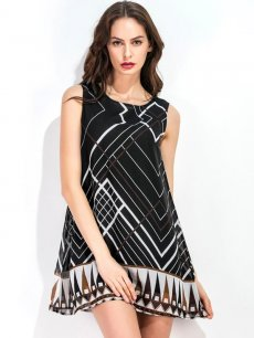 Black Geometric Chiffon A-line Tank Dress