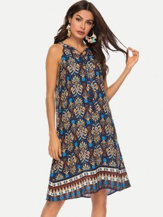 Halter Neck Printed Tank Dress