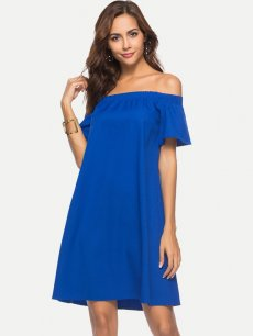 Blue Off Shoulder Casual A-line Dress