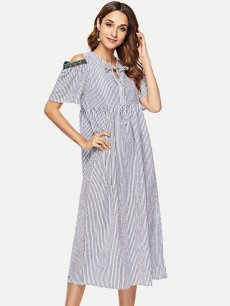 Blue Striped Off Shoulder Loose A-line Dress