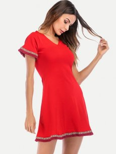V Neck Tie Back A-line Dress