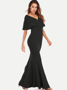 Batwing Sleeve Bodycon Backless Party Dress