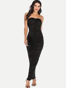 Bandeau Ruched Backless Bodycon Maxi Dress
