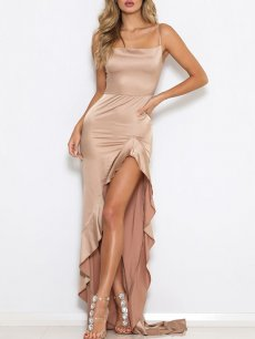 High Low Backless Satin Cami Formal Dress