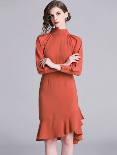 Orange High Neck Fishtail Midi Cocktail Dress