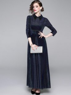 Elegant Lapel Maxi Velvet Evening Dress