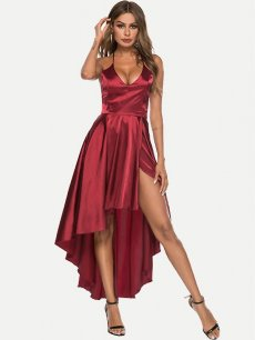 High Low Backless Satin Formal Dress