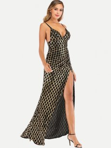 Black Sequin Plaid Backless Slit Prom Dress