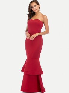 Ruffle Hem Bodycon Maxi Bandeau Party Dress