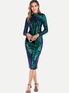 Sequin Striped Midi Sexy Prom Dress