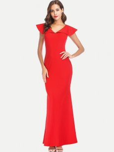 Elegant V Neck Bodycon Party Dress