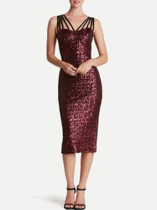 Sequin Backless Midi Bodycon Slip Prom Dress