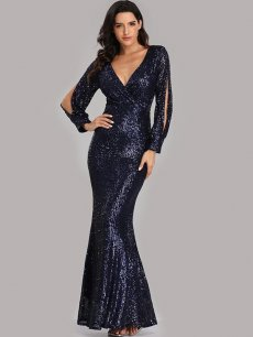 V Neck Sequin Bodycon Mermaid Formal Dress
