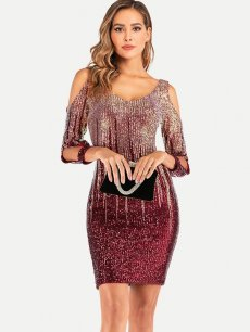 Off Shoulder Sequin Glitter Bodycon Mini Cocktail Dress