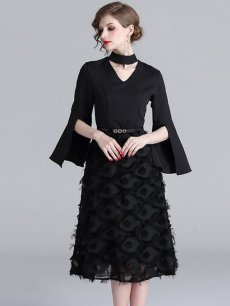 Black Flare Sleeve Tassel Elegant Midi Party Dress
