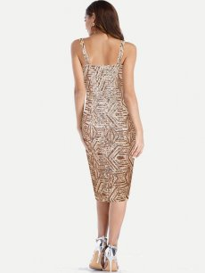 Gold Sequin Backless Fitted Pencil Cocktail Dress