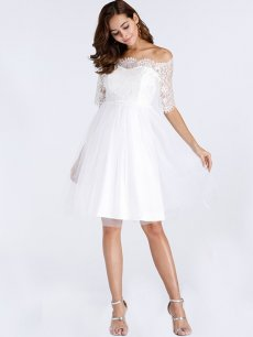 White Boat Neck Lace A-line Birthday Dress