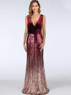 V Neck Velvet Sequin Bodycon Fishtail Evening Dress