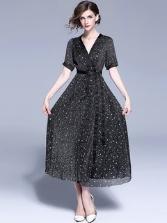 Womens Evening Dress Gown Black Sexy Fashion Cocktail Bridesmaid V Neck Long Maxi Formal Dress Gown With Sleeves