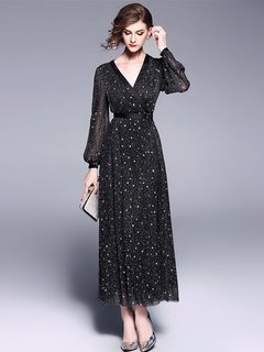 V-neck Long Evening Dress with Sequins