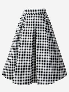 Womens Midi Skirt Vintage Plaid Print High Waist A Line Knee Length Cotton Skirt