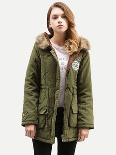 Womens Parka Coat Jacket Fleece Warm Winter Thick Faux Fur Lined Hooded Coat Jacket