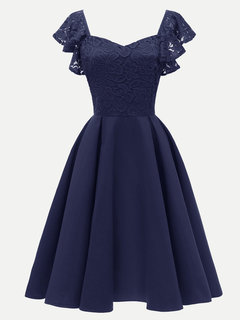 Lace Party Solid Ruffles A Line Midi Swing Dress