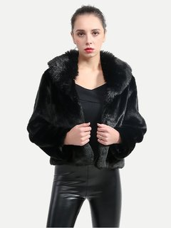 Womens Faux Fur Coat Winter Thick Warm Fur Collar Solid Color Plus Size Short Fake Faux Fur Jacket