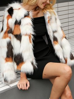 Womens Faux Fur Coat Multicolor Winter Thick Warm Fake Faux Fur Jacket