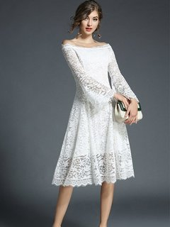 Boat Neck Flare Sleeve Lace Party Dress