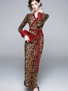 V-neck Leopard Printing Lacing Long Evening Dress