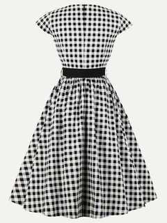 Womens 1960s Rockabilly Plaid A Line Swing Dress