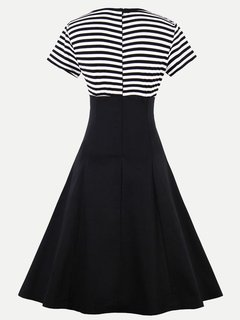 Womens Striped Color Block Swing A Line 60s Dress