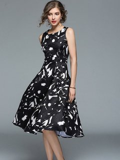 Color Block Jacquard Sleeveless Slim Party Dress