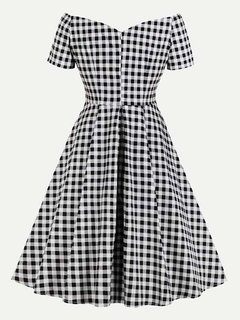 60s Plaid V Neck Swing Black A Line Dress