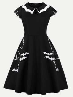 60s Style Halloween Bats Print Swing Black Dress