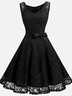 Lace Overlay Solid Sleeveless Swing Dress