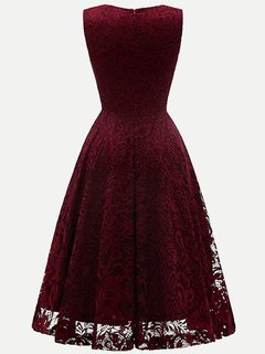 Lace Overlay Solid Sleeveless A Line Swing Dress