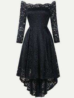 Lace Boat Neck Long Sleeve High Low Swing Dress