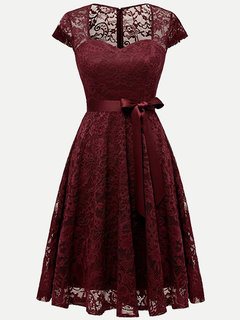 Lace Solid Lacing A Line Swing Dress With Sleeves