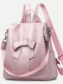 Solid Bowknot Convertible Backpack