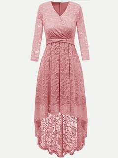Lace Overlay Solid Long Sleeve High Low Swing Maxi Dress