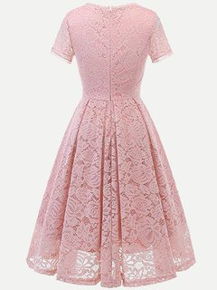 Lace Solid A Line Swing Dress With Sleeves