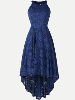 Lace Overlay Solid High Low Halter Sleeveless Dress