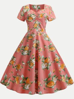 Womens Vintage 50s 60s Dress Print Rockabilly Swing A Line Dress With Sleeves