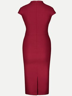 Womens Business Dress Work Office Pencil Solid Color Lacing Stand Collar Knee Length Midi Dress With Sleeves